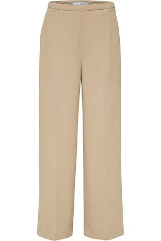 Selected Pantalon Slftilde Mw Wide Brun Sable