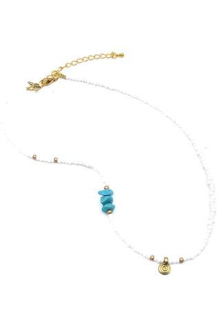 Mimarse Ketting Lily Wit/Middenblauw