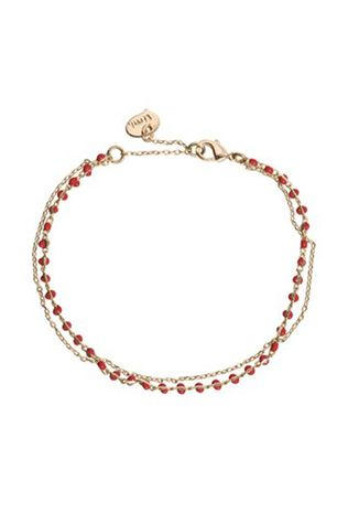 Timi Bracelet Double With Beads Or/Rouge Moyen