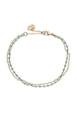 Timi Bracelet Double With Beads Or/Turquoise