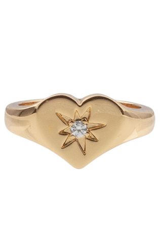 All The Luck In The World Ring Cherie Heart Clear Goud/Donkerrood