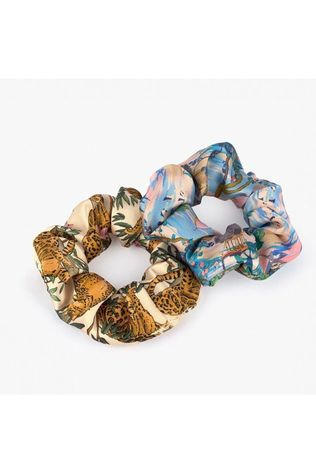 Wouf Haaraccessoires Hair Srunchie Pack Delhi & Lazy Jungle Middenblauw/Oranje