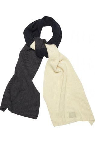 Knowledge Cotton Apparel Sjaal Juniper Colored Ribbing Scarf Donkerblauw/Lichtblauw