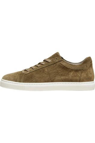 Selected Sneaker  Slhdavid Suede Stitch Trainer B Kaki Moyen