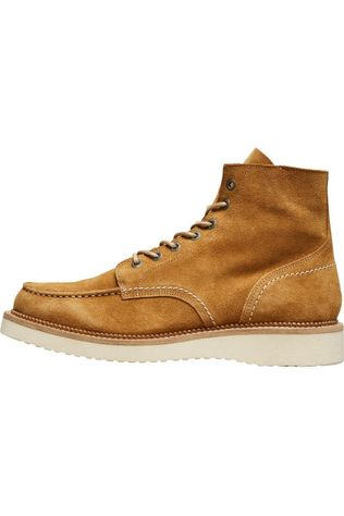 Selected Bottine Slhteo New Suede Moc-Toe B Marron Chameau