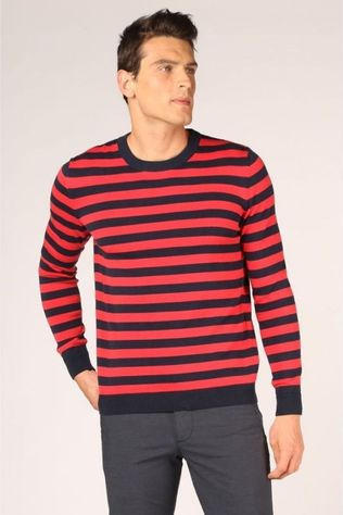 Knowledge Cotton Apparel Pull 80587 Bleu Foncé/Rouge Moyen