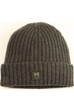 Knowledge Cotton Apparel Muts Leaf Rib Organic Wool Beanie Middenkaki