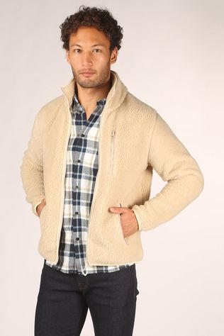 Knowledge Cotton Apparel Cardigan Elm Teddy Ecru
