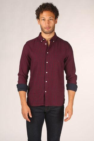 Knowledge Cotton Apparel Hemd Larch Bordeaux / Kastanjebruin/Donkerblauw