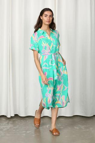 Numph Robe Nuchanadress Vert/Jaune Clair