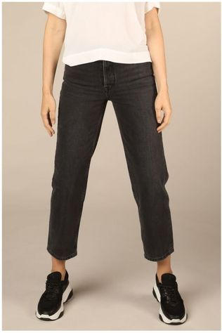 Selected Jeans kate High Waist Straight Grey Stone Zwart/Donkergrijs