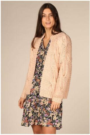 Yas Cardigan Yascarly Hand Knit Rose Clair