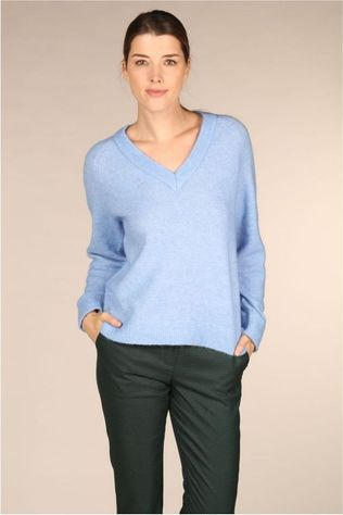 Selected Trui lanna Ls Knit V Neck Lichtblauw