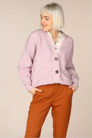 Selected Cardigan Slfsif Knit Pourpre Clair