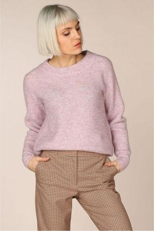 Selected Pull Slfsif Ls Knit O Neck Pourpre Clair