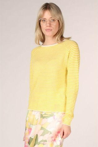 Selected Pull Slfastrid Ls Knit O Neck Blanc/Jaune Clair