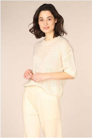Selected Pull Slfmellow 2/4 Knit O Neck Blanc Cassé
