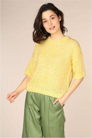 Selected Pull Slfmellow 2/4 Knit O Neck Jaune Clair