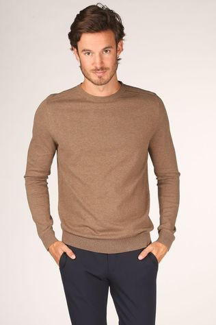 Selected Trui berg Crew Neck B Noos Zandbruin
