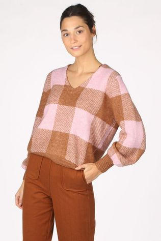 Yas Pull coliva Ls Marron Chameau/Rose Clair