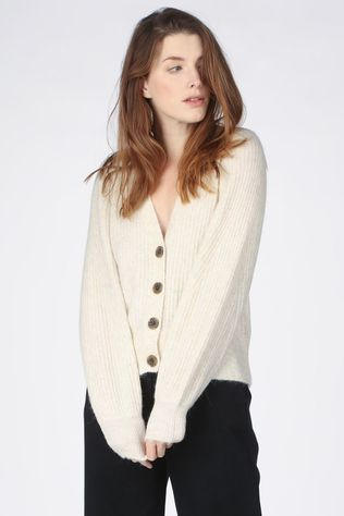 Selected Cardigan sif-Kai Ls Rib B Zandbruin