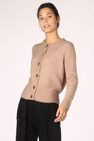 Selected Cardigan Sia Ls Knit Marron Chameau