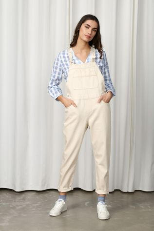 Selected Jumpsuit Slffrida Cream White Denim Dungaree Gebroken Wit