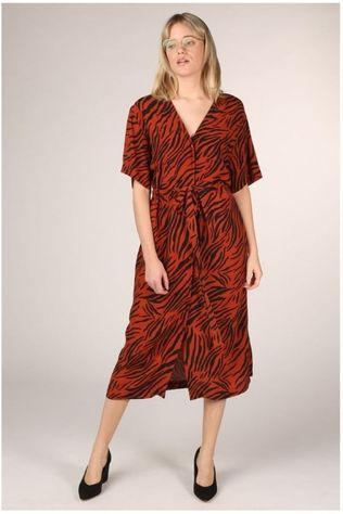 Catwalk Junkie Jurk Dr Animal Stripes Roest/Zwart