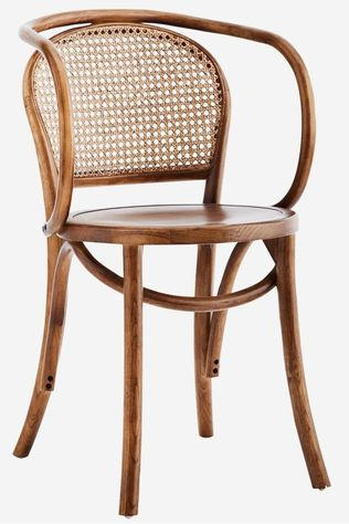 Madam Stoltz Stoel Wooden Chair With Armrest And Rattan Donkerbruin