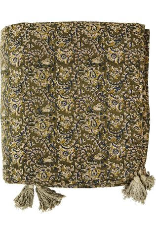 Madam Stoltz Plaid Printed Cotton W/Tassels Middenkaki