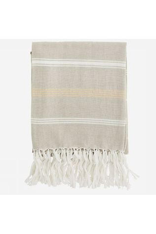 Madam Stoltz Serviette Striped Cotton 100X180Cm Brun Sable/Or