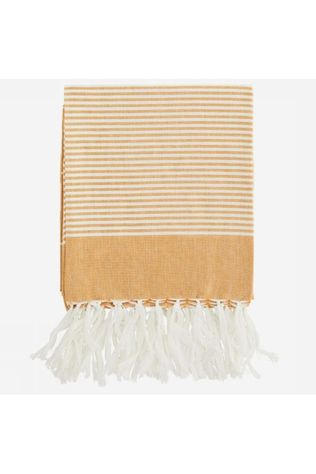 Madam Stoltz Serviette Striped Cotton 100X180Cm Jaune Foncé/Blanc