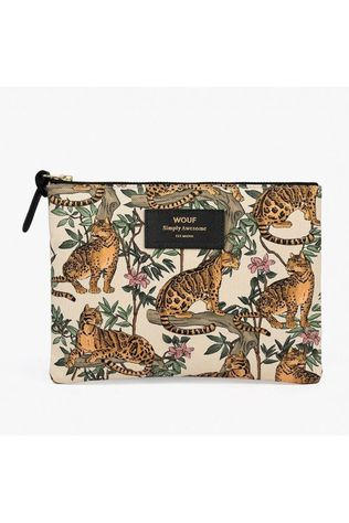 Wouf Accessoire Textile Large Pouch Lazy Jungle Blanc/Orange