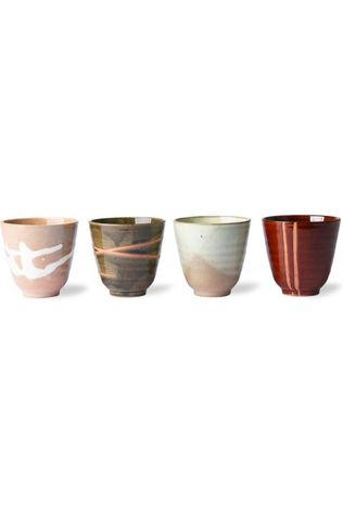 HK Living Servies Kyoto Ceramics: Japanese Yunomi Mugs Set of 4 Assortiment