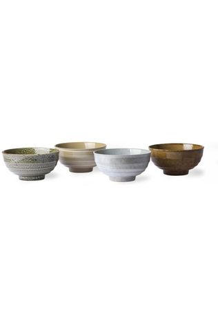 HK Living Servies Kyoto Ceramics: Japanese Noodle Mugs Set Of 4 Assorti / Gemengd
