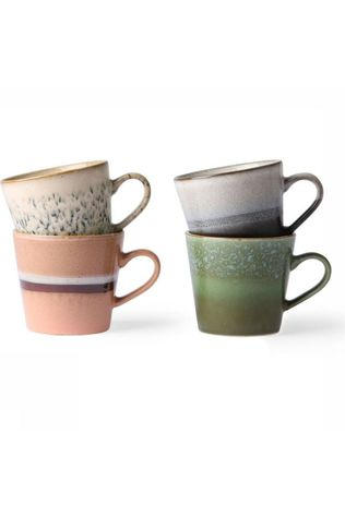 HK Living Service De Vaisselle Ceramic 70'S pucino Mugs Set Of 4 Assorti / Mixte