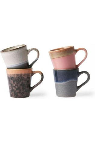 HK Living Service De Vaisselle Ceramic 70'S Espresso Mugs Set Of 4 Assorti / Mixte