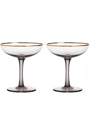 &KLEVERING Servies Champagne Coupe Smoked Set Of 2 Middengrijs