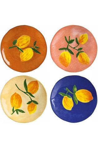 &KLEVERING Servies Plate Lemon Full Colour Set Of 4 Wit/Middengeel