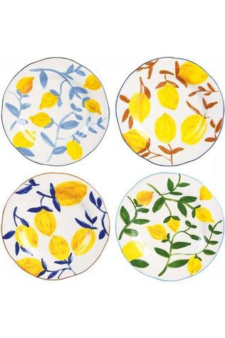 &KLEVERING Servies Plate Lemon Twig Set Of 4 Wit/Middengeel