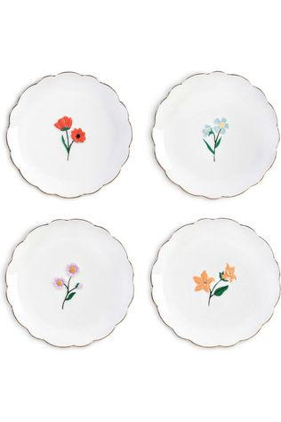 &KLEVERING Servies Plate Wildflower Set Of 4 Wit/Ass. Bloem
