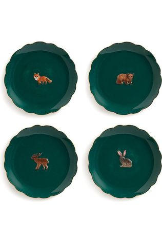 &KLEVERING Servies Plate Forest Animal Set Of 4 Donkergroen