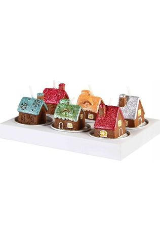 &KLEVERING Bougie Gingerbread House 6 Pack Brun moyen/Blanc