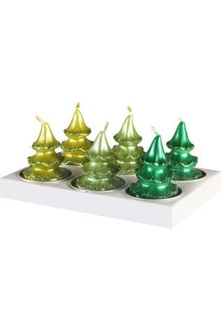 &KLEVERING Bougie Candle pine tree 6 pack Vert Moyen