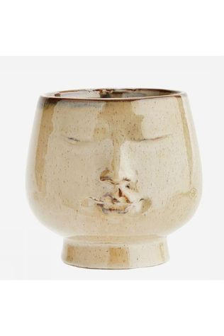 Madam Stoltz Cache-Pot With Face Imprint D14,5*14Cm Brun moyen