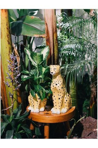 Doiy Bloempot Urban Jungle Plant Pot Cheetah L13,5 x B15 x H15 cm Zwart/Middengeel