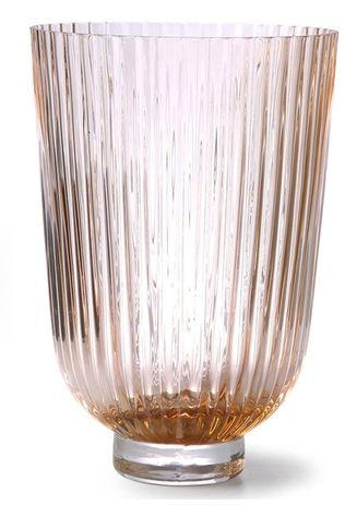 HK Living Vaas Glass Ribbed Peach L19 x B19 x H27 cm Lichtroze