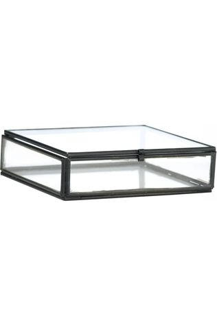 Madam Stoltz Petit Rangement Quadratic Glass Box Noir