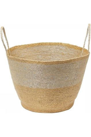 VT Wonen Petit Rangement Basket With Handles Round Gold Silver Or