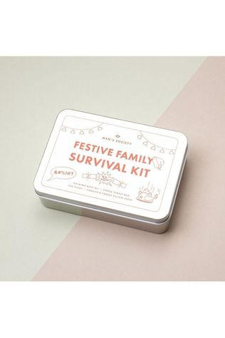 Men's Society Woonaccessoire Festive Family Survival Kit Zilver/Wit